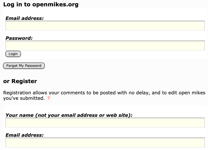 The openmikes.org login screen